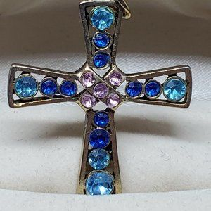 Jewelry - Silver Tone Colored Rhinestone Cross Pendant